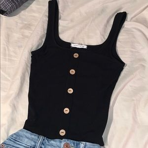 Urban Outfitters Black Button Tank Stretchy Top